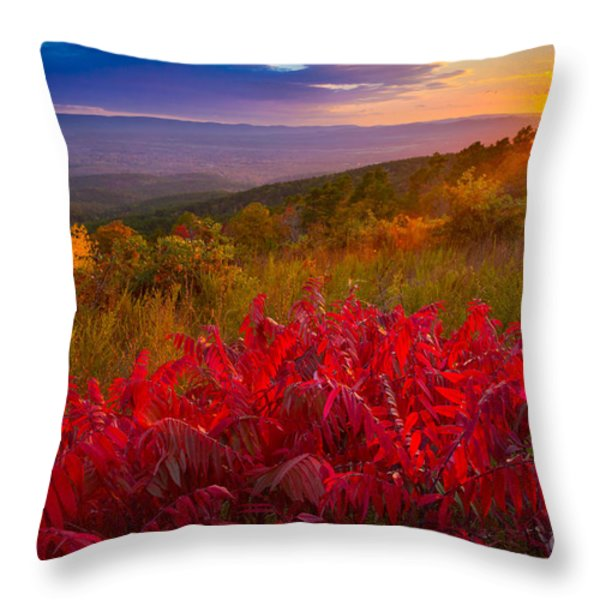 Talimena Evening Throw Pillow by Inge Johnsson