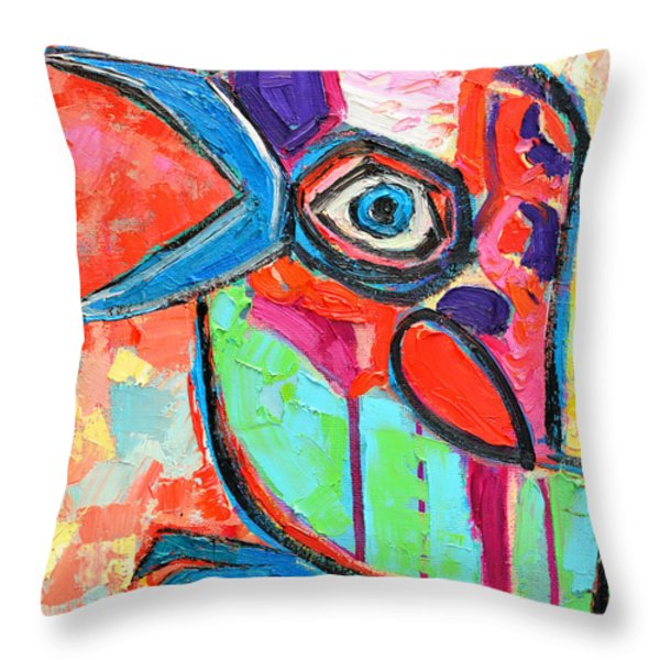 Talkative Baby Bird First This Spring Throw Pillow by Ana Maria Edulescu
