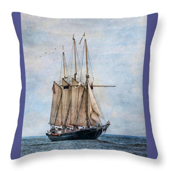 Tall Ship Denis Sullivan Throw Pillow by Dale Kincaid
