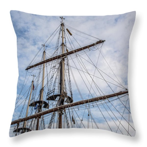 Tall Ship Masts Throw Pillow by Dale Kincaid