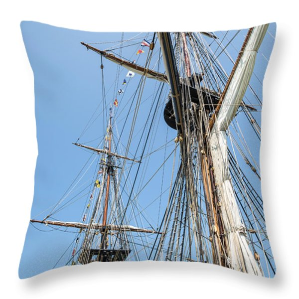 Tall Ship Rigging Throw Pillow by Dale Kincaid
