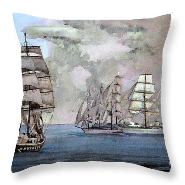 Tall Ships Off Newport Throw Pillow by Steve Hamlin