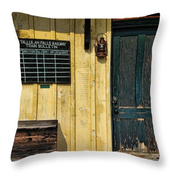 Tallulah Falls Rail Bulletin Throw Pillow by Kenny Francis