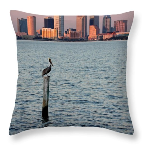 Tampa Skyline And Pelican Throw Pillow by Carol Groenen