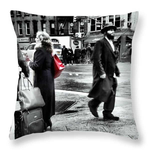 Tangents - A Walk In The City Throw Pillow by Miriam Danar