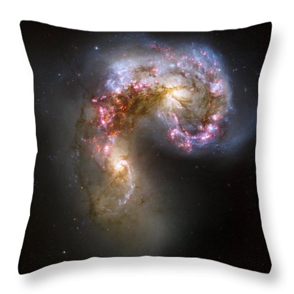 Tangled Galaxies Throw Pillow by Adam Romanowicz