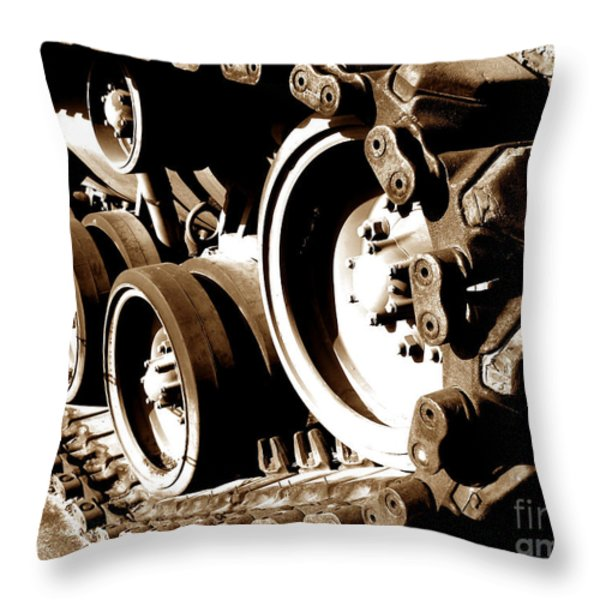 Tank Tracks Throw Pillow by Olivier Le Queinec