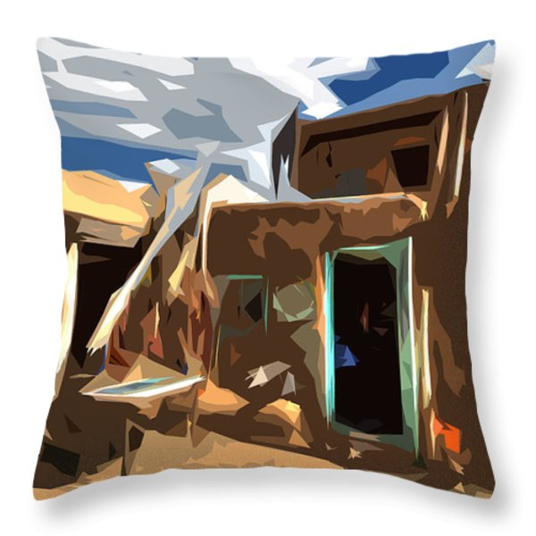 Taos Pueblo Abstract Throw Pillow by K D Graves