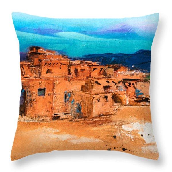 Taos Pueblo Village Throw Pillow by Elise Palmigiani