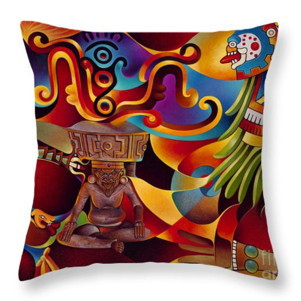 Tapestry Of Gods - Huehueteotl Throw Pillow by Ricardo Chavez-Mendez