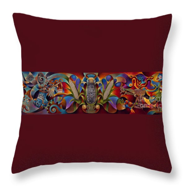 Tapestry Of Gods Throw Pillow by Ricardo Chavez-Mendez