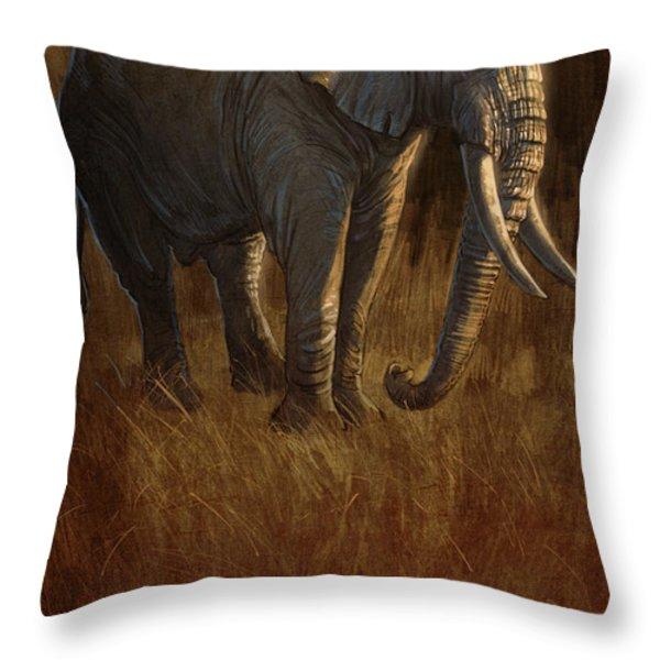 Tarangire Bull 2 Throw Pillow by Aaron Blaise