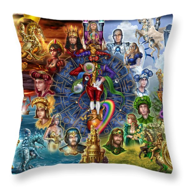 Tarot of Dreams Throw Pillow by Ciro Marchetti