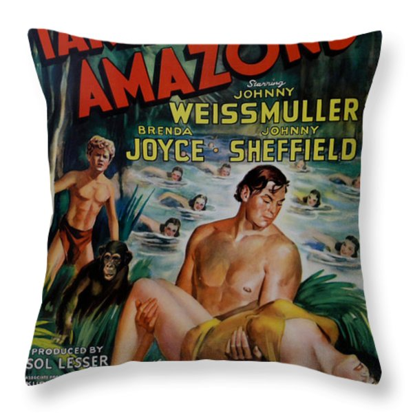 Tarzan and the Amazons Throw Pillow by Nomad Art And  Design