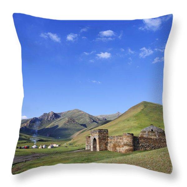 Tash Rabat Caravanserai In The Tash Rabat Valley Of Kyrgyzstan  Throw Pillow by Robert Preston