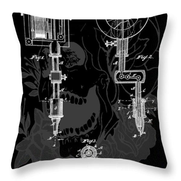 Tattoo Gun Patent Throw Pillow by Dan Sproul