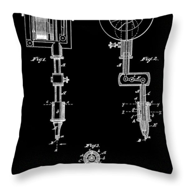 Tattoo Machine Throw Pillow by Dan Sproul