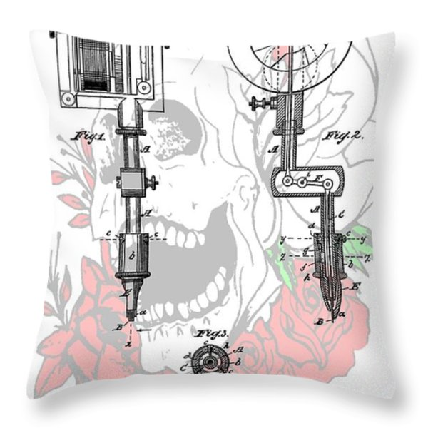 Tattoo Machine Patent Throw Pillow by Dan Sproul