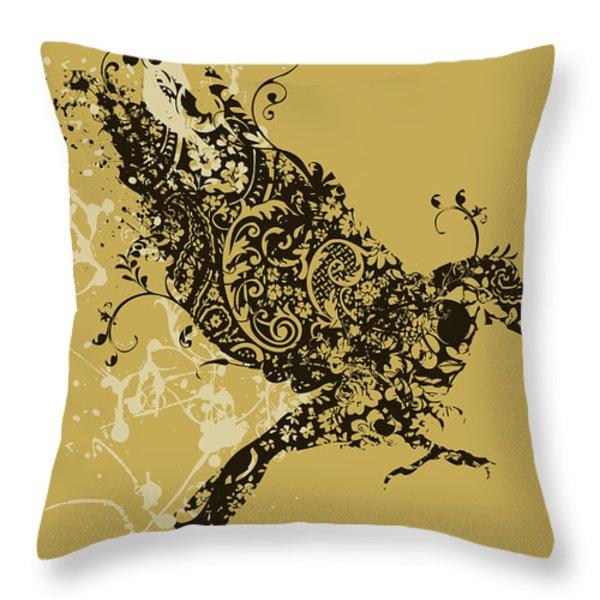 Tattooed bird Throw Pillow by Budi Kwan