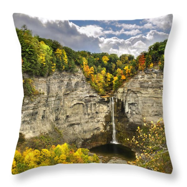 Taughannock Falls Autumn Throw Pillow by Christina Rollo