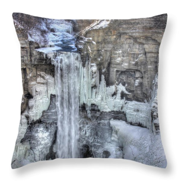 Taughannock Falls Throw Pillow by Lori Deiter