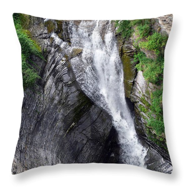Taughannock Falls Upper Rim Trail Throw Pillow by Christina Rollo