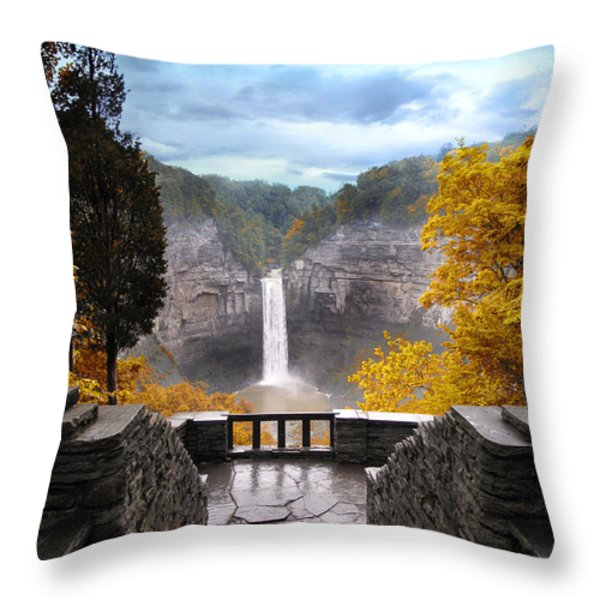 Taughannock in Autumn Throw Pillow by Jessica Jenney