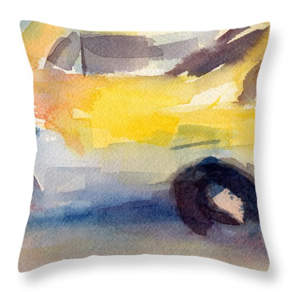 Taxi Cabs NYC Watercolor Painting Throw Pillow by Beverly Brown Prints