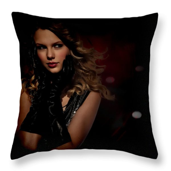 Taylor Swift Throw Pillow by Anibal Diaz