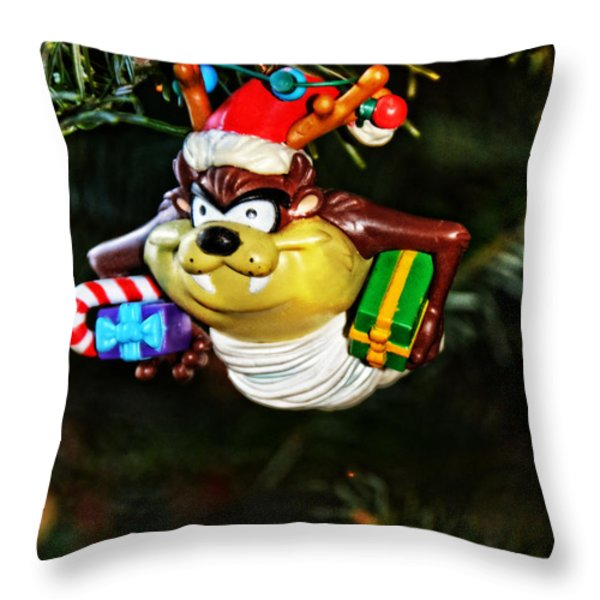 Taz on Christmas Tree Throw Pillow by Mike Martin