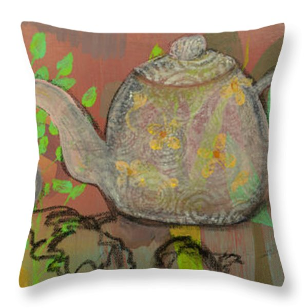 Tea Blossoms Throw Pillow by Robin Maria  Pedrero
