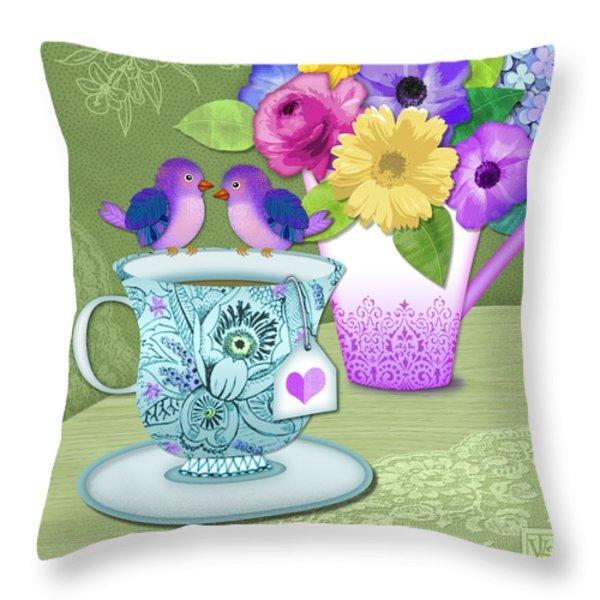 Tea For 2 Throw Pillow by Valerie Drake Lesiak