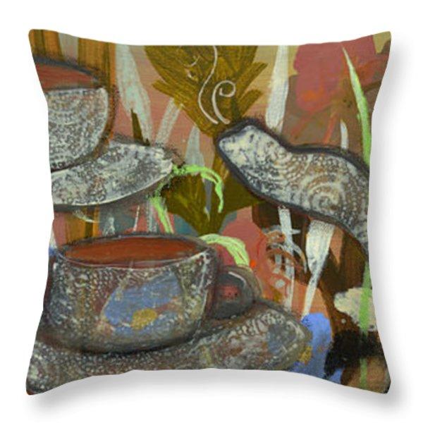 Tea For Three Throw Pillow by Robin Maria  Pedrero