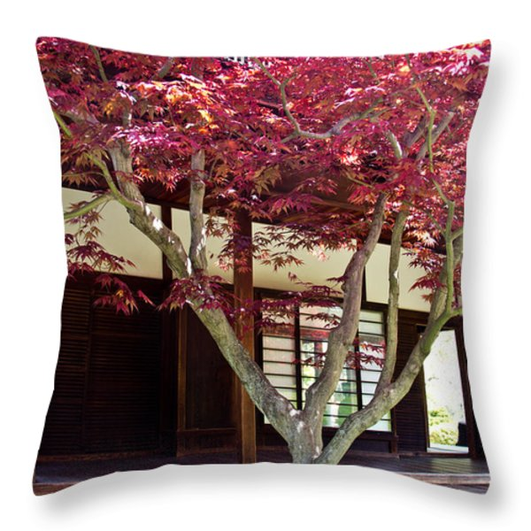 Tea House Thru The Maple Throw Pillow by Tom Gari Gallery-Three-Photography