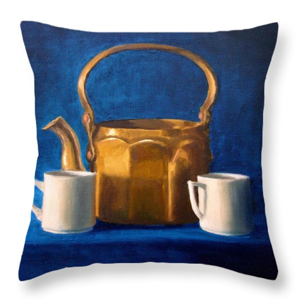 Tea Time Throw Pillow by Janet King