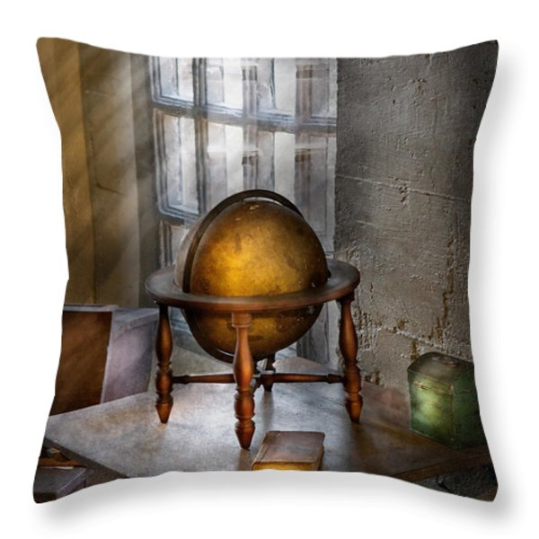 Teacher - Around the world Throw Pillow by Mike Savad