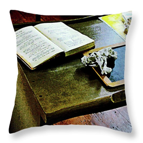 Teacher - Blackboard And Book Throw Pillow by Susan Savad