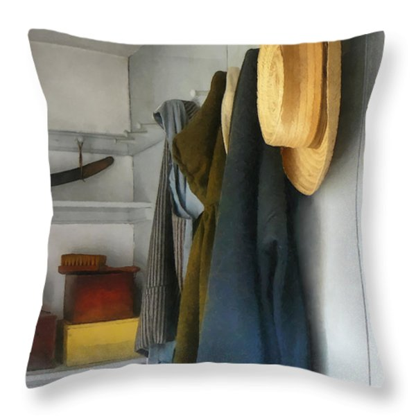 Teacher - Cloakroom Throw Pillow by Susan Savad
