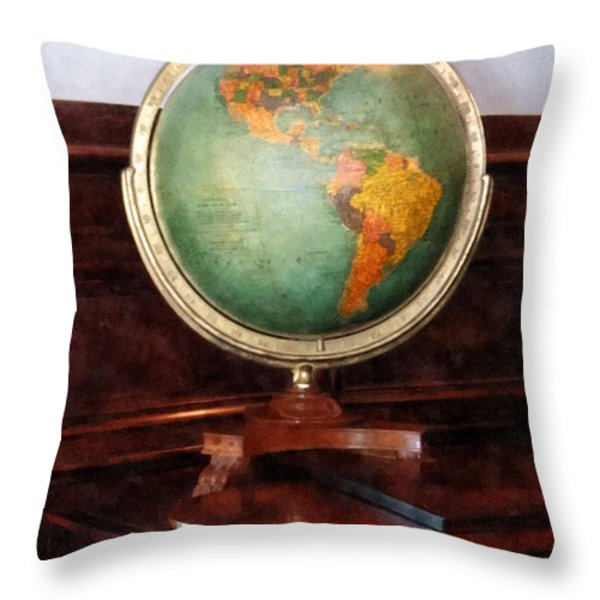 Teacher - Globe On Piano Throw Pillow by Susan Savad