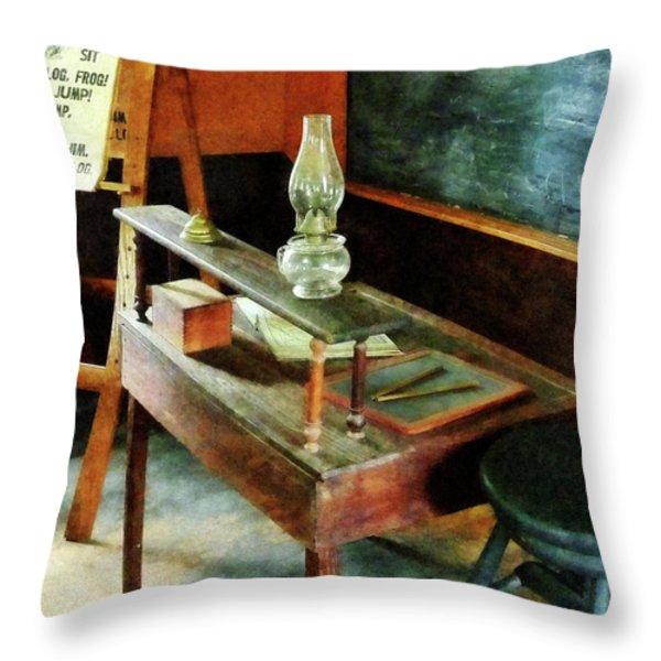 Teacher - Teacher's Desk With Hurricane Lamp Throw Pillow by Susan Savad