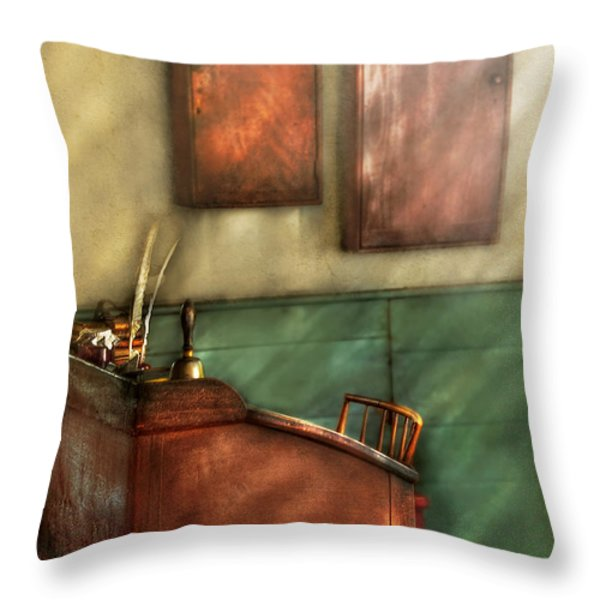 Teacher - The Teachers Desk Throw Pillow by Mike Savad