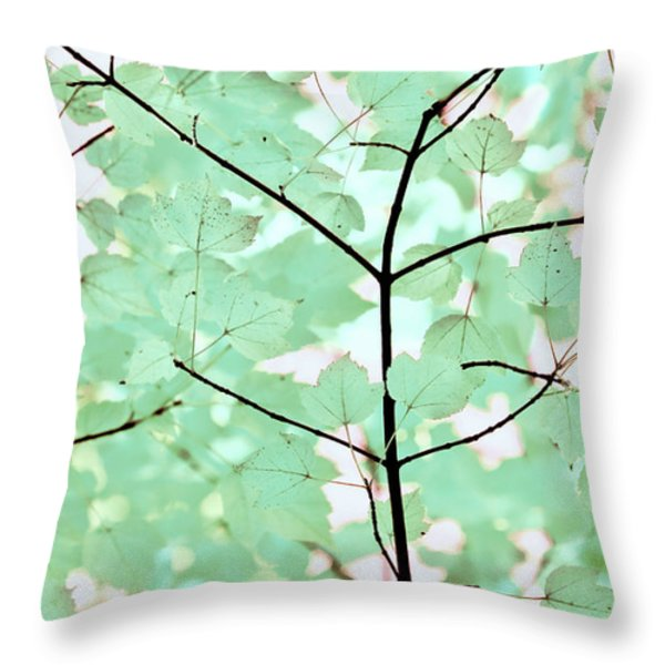 Teal Greens Leaves Melody Throw Pillow by Jennie Marie Schell