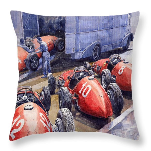 Team Ferrari 500 F2 1952 French Gp Throw Pillow by Yuriy  Shevchuk