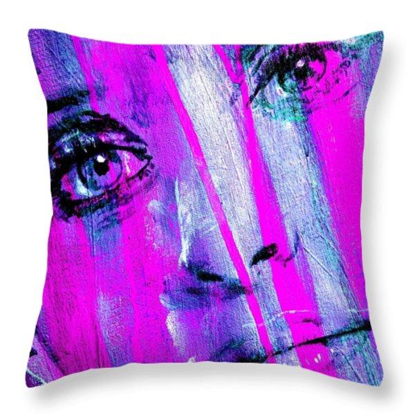 Tears - Purple Throw Pillow by Richard Tito