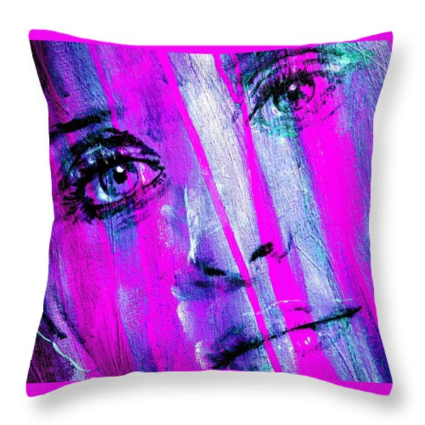 Tears - Purple Throw Pillow by Richard Tito