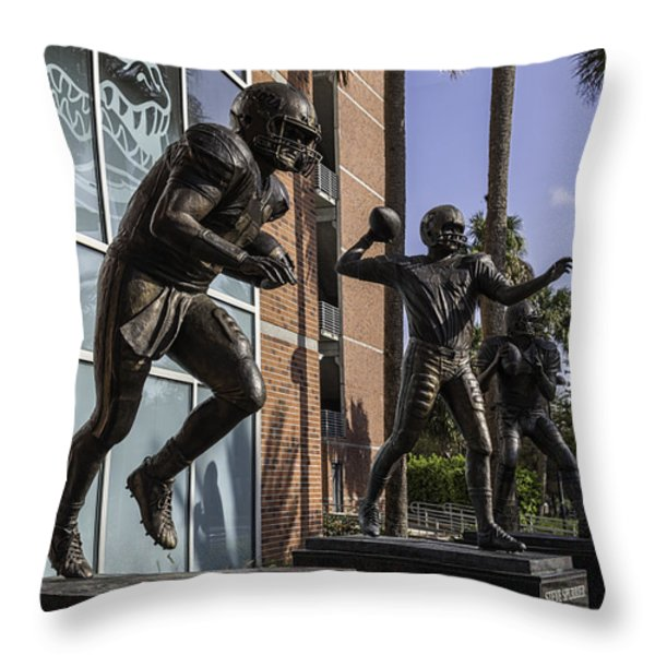 Tebow Spurrier and Wuerffel UF Heisman Winners Throw Pillow by Lynn Palmer