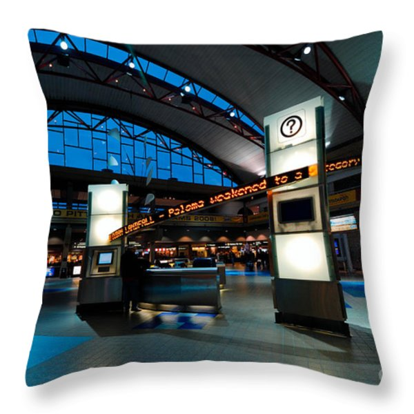 Technology Curves Pittsburgh International Airport Throw Pillow by Amy Cicconi