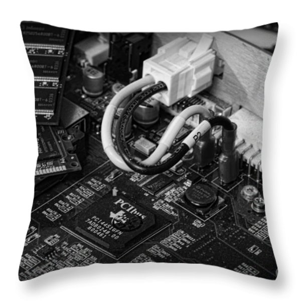 Technology - Motherboard In Black And White Throw Pillow by Paul Ward