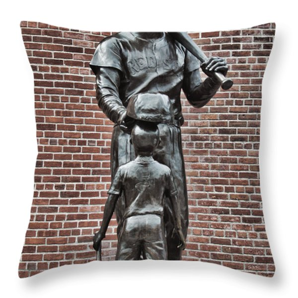 Ted Williams Statue - Boston Throw Pillow by Joann Vitali