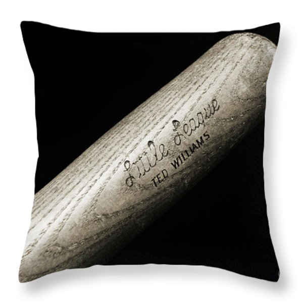 Ted Williams Little League Baseball Bat Bw Throw Pillow by Andee Design